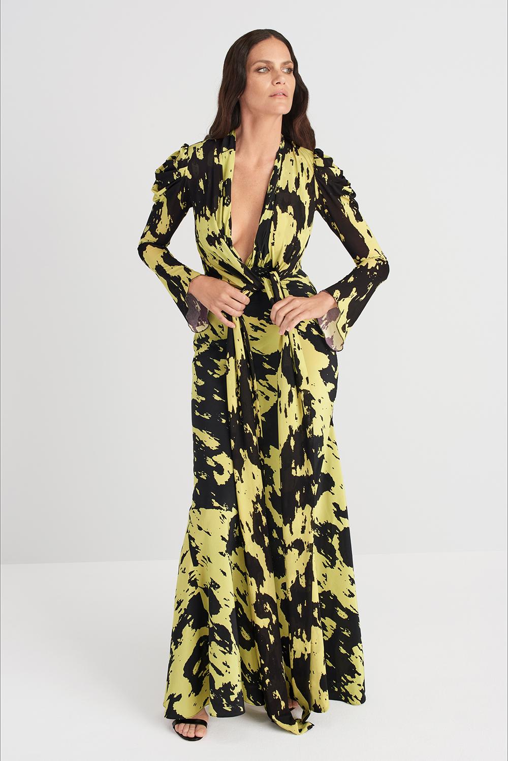 Abito floreale giallo e nero di Diane von Furstenberg, Pre-Season primavera-estate 2020